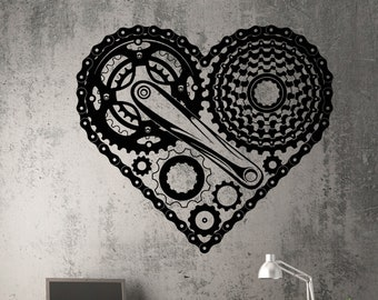 Vinyl Decal Steampunk Heart Mechanical Gear Romantic Best Seller Unique Wall Decor ig2195ca