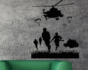 Vinyl Wall Decal Helicopter Army Marines Best Seller Unique Decor caig2419