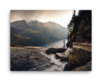 Canvas, River in foggy mountains landscape