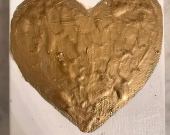 Gold metalic heart canvas | 4 x 4