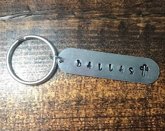 Personalized Hand Stamped Keychain With Cross - Gift Under Ten -Kids Gift - Hand Stamped - Stocking Stuffer - Keychain With Name