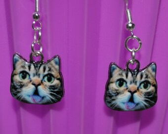 Tabby Cat Face Earrings // Cat Earrings  // Tabby Cat Earrings  // Pet Earrings // Tiny Cat