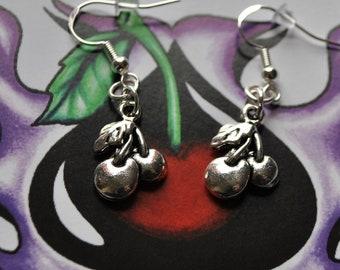 Rockabilly Cherry Earrings // Rockabilly Earrings // Pin Up Earrings  // Cherries // Alternative Earrings