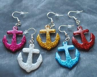 Glitter Anchor Earrings // Nautical Earrings // Alternative  // Rockabilly // Gold