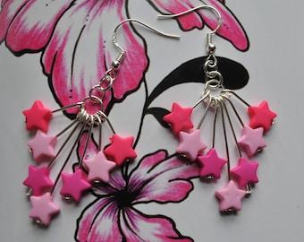 Pink Star Earrings // Star Earrings // Festival Earrings