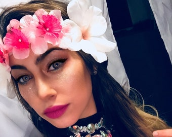 Goddess Headband Pink & White Water Nymph