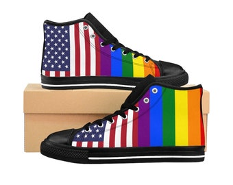 d1345e39a7 LGBTQ Gay Pride Parade Rainbow Flag USA MenS HighTop Sneakers