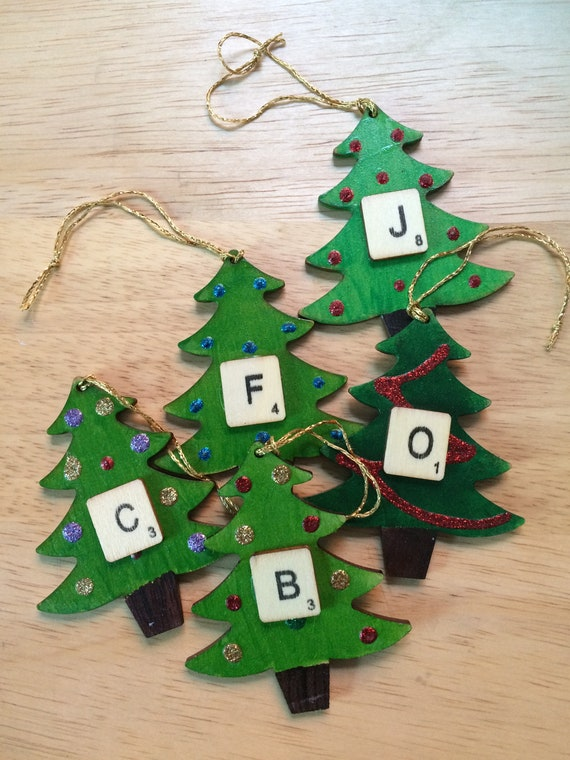 Personalised Christmas Tree Decorations Wooden Scrabble Letters Hand Painted Initials Hang On Tree Festive Novelty Xmas