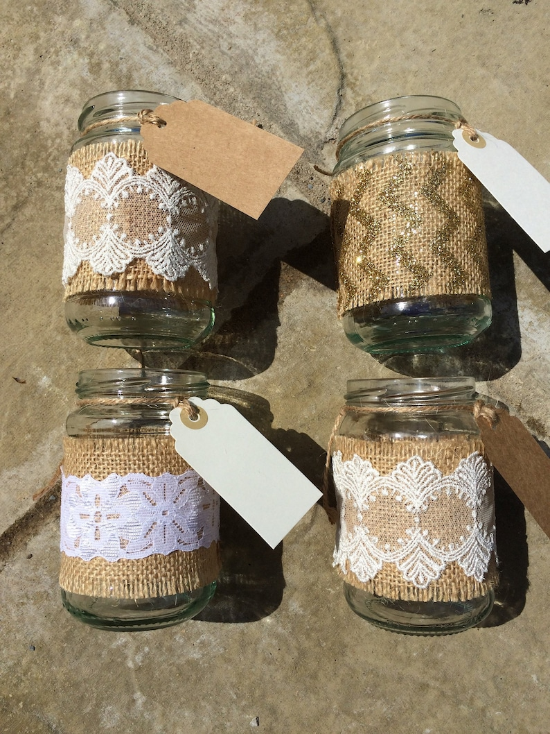 8 Up Cycled Glass Jars Wedding Table Decorations Teacher Etsy