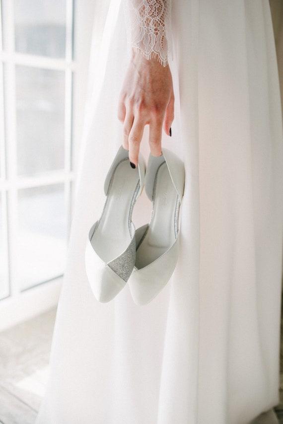 Wedding Shoes White Wedding Shoes Bridal Ballet Flats Low Wedding Shoes Bridal Flats Wedding Flats Silver Flats Ballet Flats