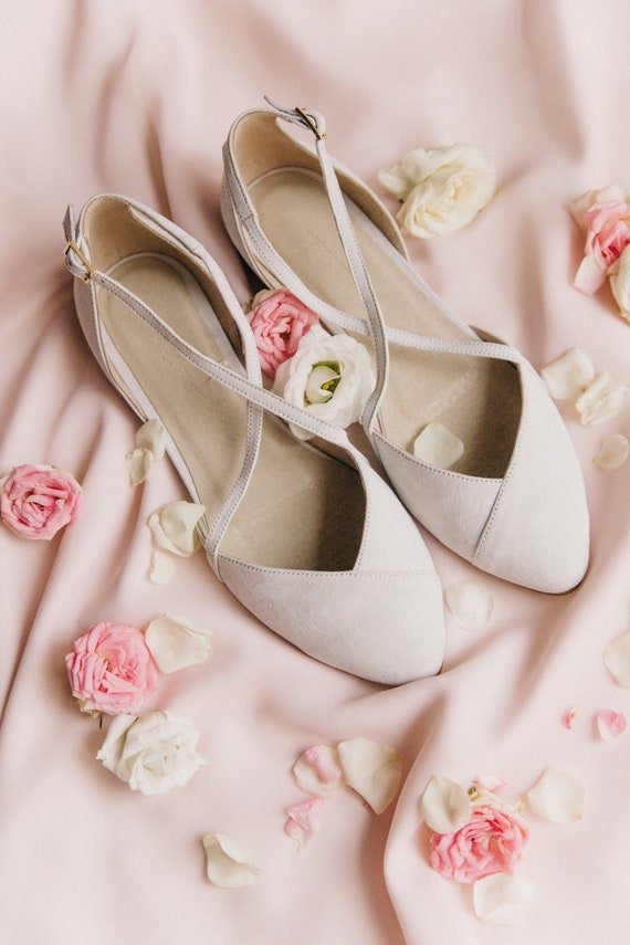 Wedding Shoes White Wedding Shoes Bridal Ballet Flats Low Etsy