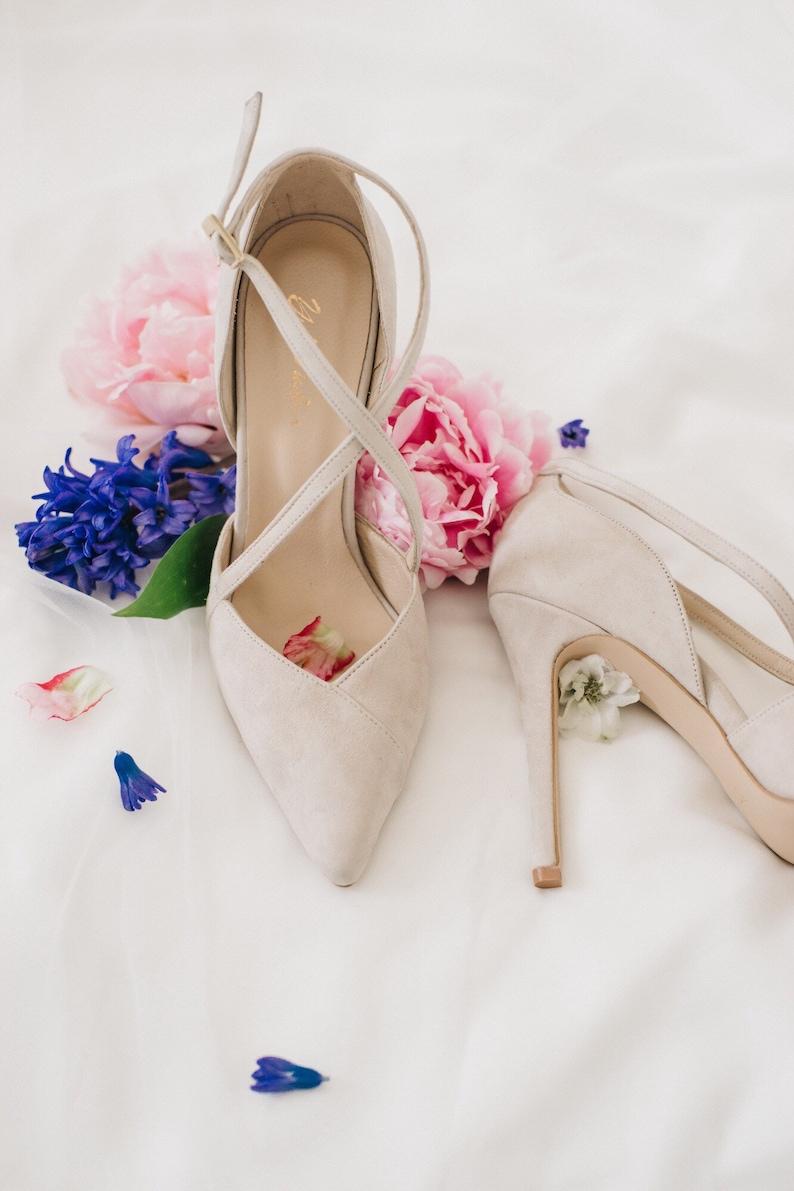 White Wedding Dress Beige Shoes