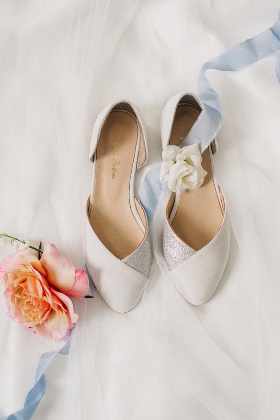 Wedding Shoes Silver Wedding Shoes Bridal Ballet Flats Low Wedding Shoes Bridal Flats Wedding Flats Silver Flats Ballet Flats
