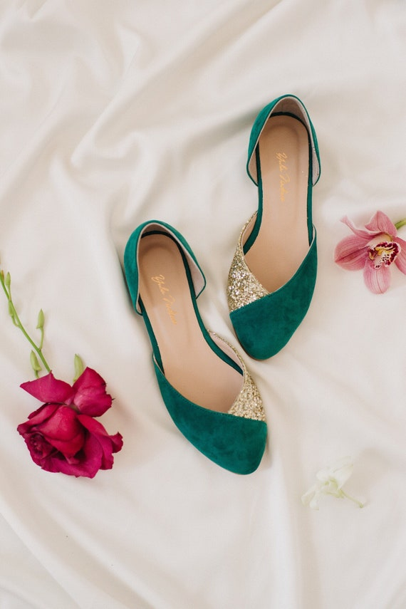 Wedding shoes • emerald wedding shoes • green wedding shoes • bridesmaid •  flats • casual flats • wedding shoes for bride • woman shoes