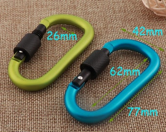 6 pcs D Carabiner,68mm Red Aluminum Carabiners,carabiner clip,Key Chain Rock Climbing,keyring,fathers day,Coordinate keychain 7005