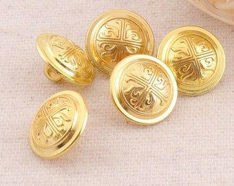 """Gold Metal Buttons Shank,5/8""""(15mm),10pcs,Vintage Jewelry Coat Sweater Clothing Leather Wrap Clasps(G43)"""
