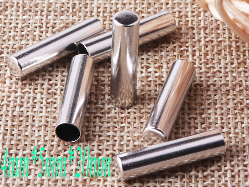 10 PCS Silver Metal End Tips,Rope End Connector Buckle Replacement DIY,Cord Lock Craft Cord Locks,Cord End Buckle Cap Rope Buckle-4mm cr28