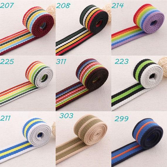 "Polypropolene 1/"" 25mm Tape Webbing Beach Bag Strap Dog Collar Striped Blue+White"