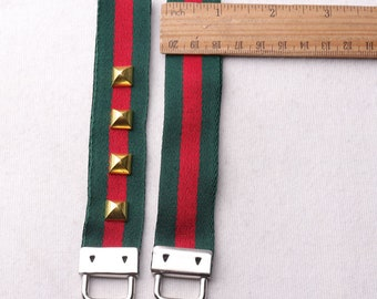 """1""""(25mm) Key FOB / KeyChain / Wristlet Green and Red keychain with Gold Ornaments,on webbing friends teacher gifts under 10(rb85)"""