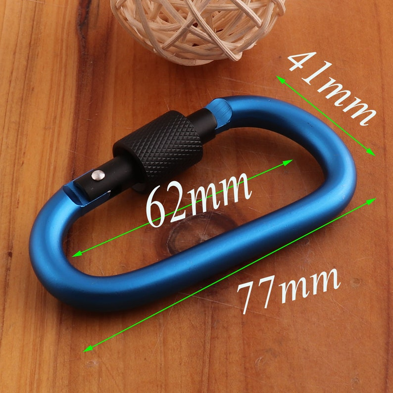 D Carabiner clip Large Keychain,Key Chain Rock Climbing keyring fathers day Coordinate keychain-6 pcs 77mm Blue Aluminum Carabiners