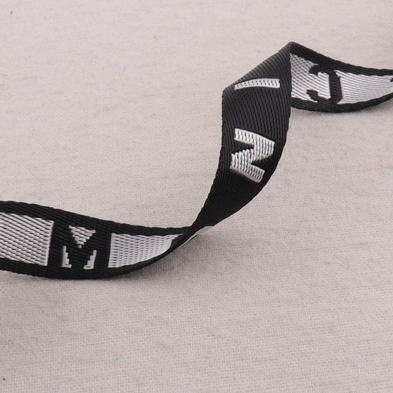 White Black Striped Webbing LettersMOSCHINOSmooth Ribbon White Edge Totes Belts Tape Bag Handle Bag Purse Straps 34 WB0285 20mm