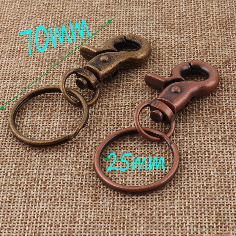 6 Lobster Swivel Clasps key chain,70mm,Antique BronzeCopper Hook Clasps Claws,Carabiner Snap s33