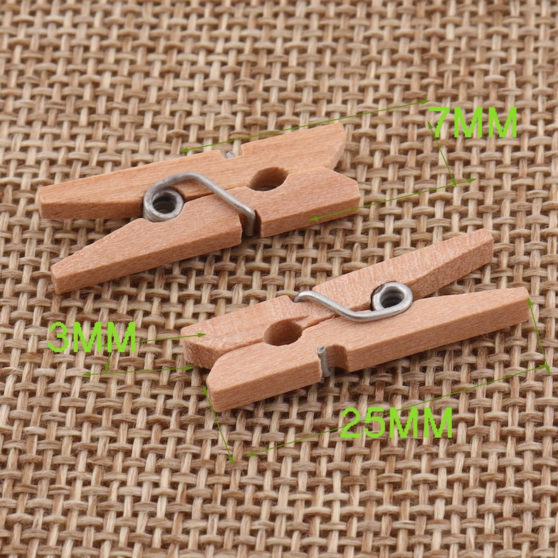 WC01 ,Pale Yellow Natural Wood Cloth Clip Craft Pegs Scrapbooking 25mm 60pcs Small Wood Clips,1