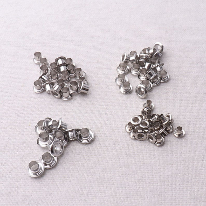 3.5mm 3048 116 3.8mm 2mm 18 100-400 PCS Silver MINI Eyelets,For Clothes Leather Canvas bag rivet studs-18 inner Diameter 3.4mm 18