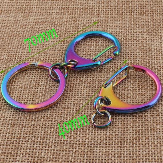 """2 3/4""""(70mm) arc en ciel Key Chain O-Ring fermoirs homard pivotantes personnalisé perroquet multicolore crochet pression breloque métal poussoir Clasp(RA02)"""