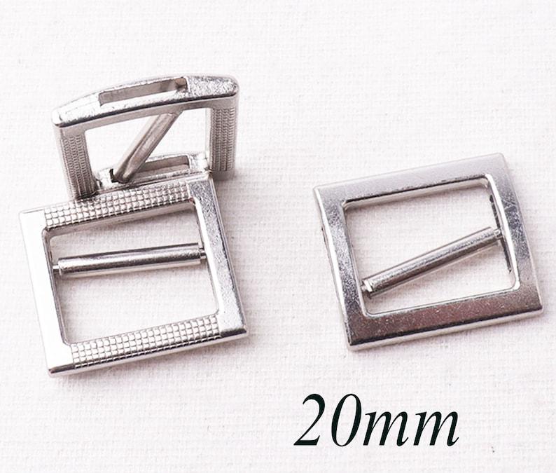 TJK04 20 mm Metal Silver Flat Slide Buckle,8 pcs Adjustable Slider Buckles webbing Purse Bag buckles,Handbag Clothes Strap Keeper