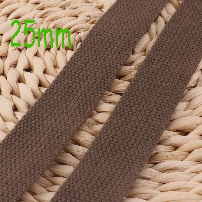 WB577 Pale Brown Cotton Webbing,1 inch Webbing,Soft Bag Purse Key Fob Webbing,Webbing Keychain,Trim Webbing By The Yard