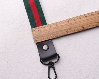 """18""""(45cm) Key FOB KeyChain Wristlet Green and Red keychain with Lobster Clasp,on webbing friends teacher gifts under 10pcs(rb87)"""