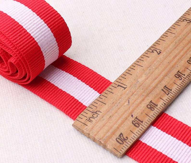 rb70 25mm White Red Stripe Soft Webbing,Ribbon DIY Clothing Shoes Bag Belts,one inch webbing belt supplies by the yard-1