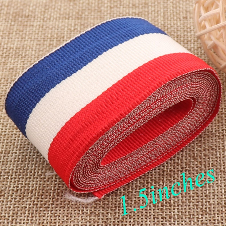 54e8aa491a 1.5 inch Webbing20 yards White Blue Red Striped Soft