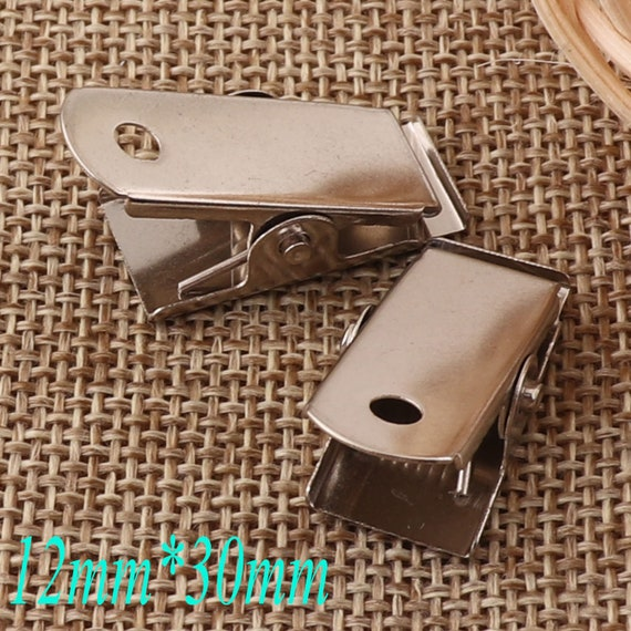 Tray 22mm PEPPERLONELY 50PC Silver Alligator Hair Clips with Brooch Pin Cabochon Setting