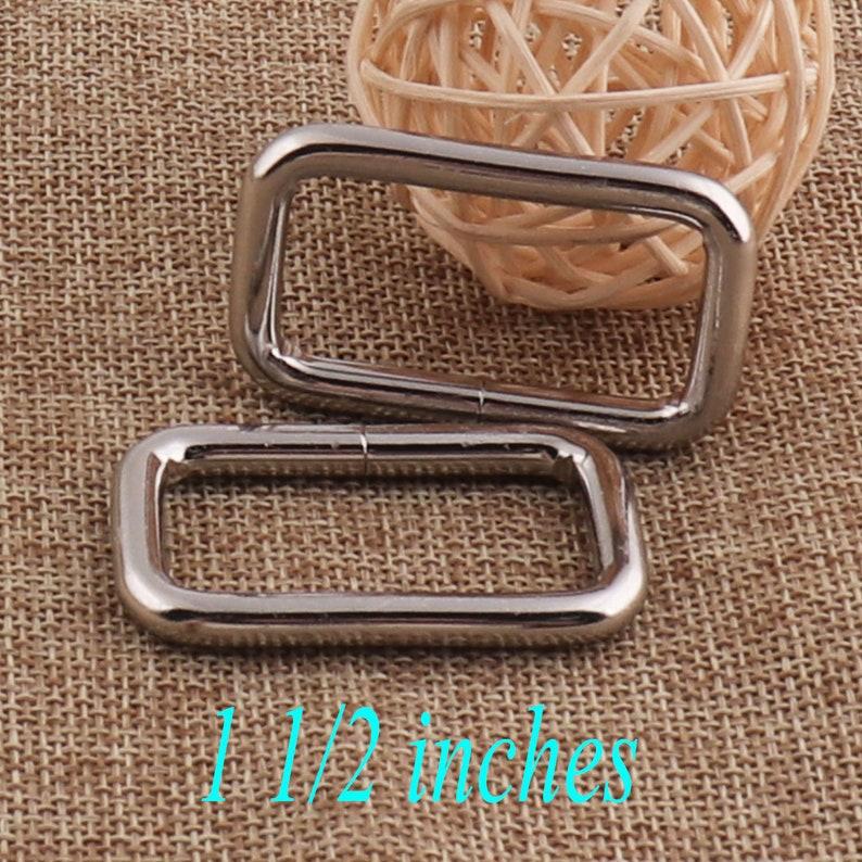6 PCS METAL Silver Rectangle Rings,1 12 Square Rings Rectangular Wire Loops,Webbing Purse Handbag Bag Making Hardware Handbag-38MM 73