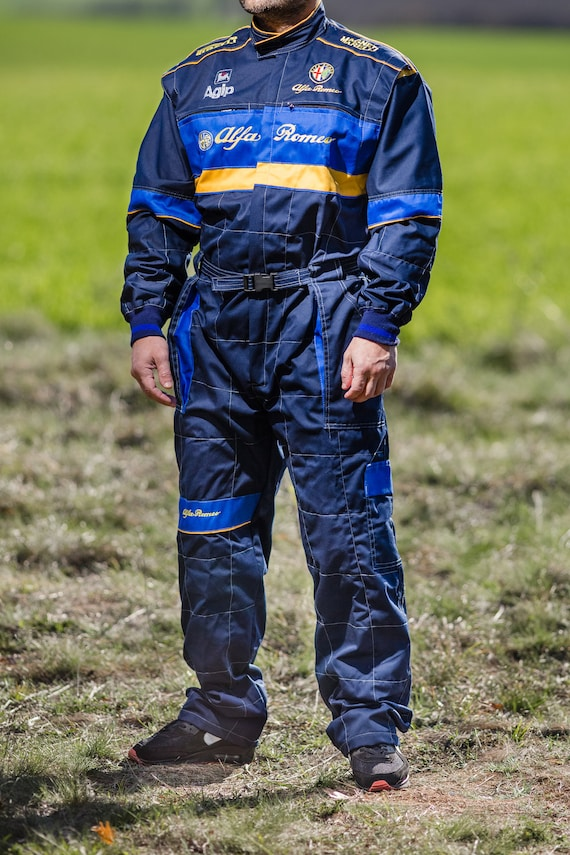 Mens Alfa Romeo Motorsport Coverall Work Overalls Embroidered Workwear