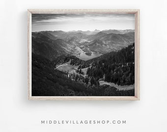 DOWNLOAD PRINTS Lake Mountain Forests Hills Horizon Adventure Black and White Landscape Instant Photography Print Printable Wall Art