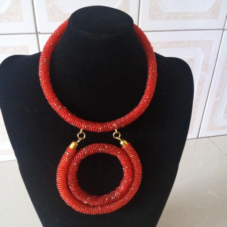 Gift Ideas ON SALE African Beaded Pendant Necklace Women Jewelry Boho Necklace Beaded Necklace African Red Jewelry Tribal Necklace