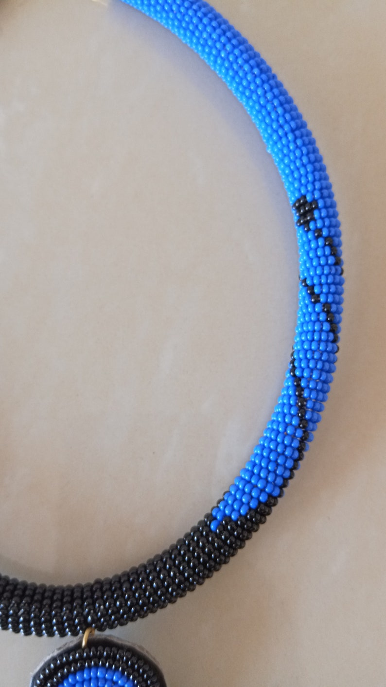 Gift for her Women Jewelry Tribal necklace African Jewelry Blue Zulu Necklace ON SALE African Beaded Pendant Necklace Moms Gift