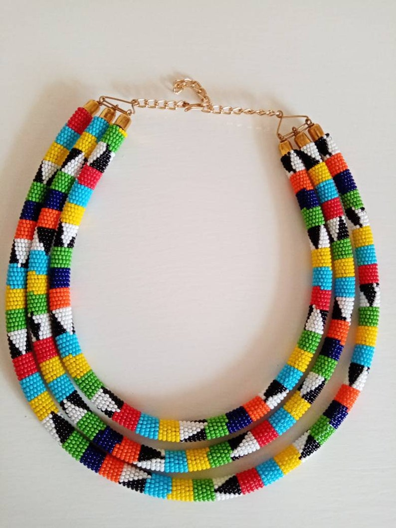 Tribal Necklace African Beaded Layered Necklace Multicolor Necklace Gift For Her African Beaded Necklace African Jewelry