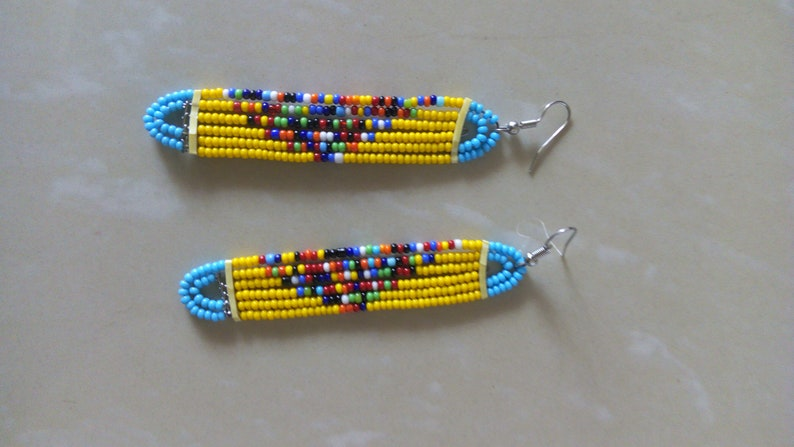 Gift For Her ON SALE Beaded Earrings Yellow Beaded Earrings Women Earrings African Jewelry Hoop Beaded Earrings African Earrings