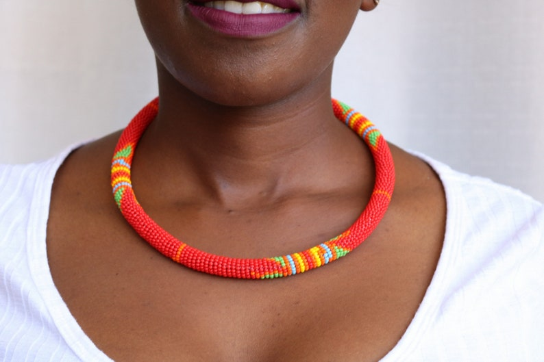 Ethnic Jewelry African Maasai Beaded Necklace Red Zulu Beaded Necklace African Jewelry Gift For Her Statement Necklace