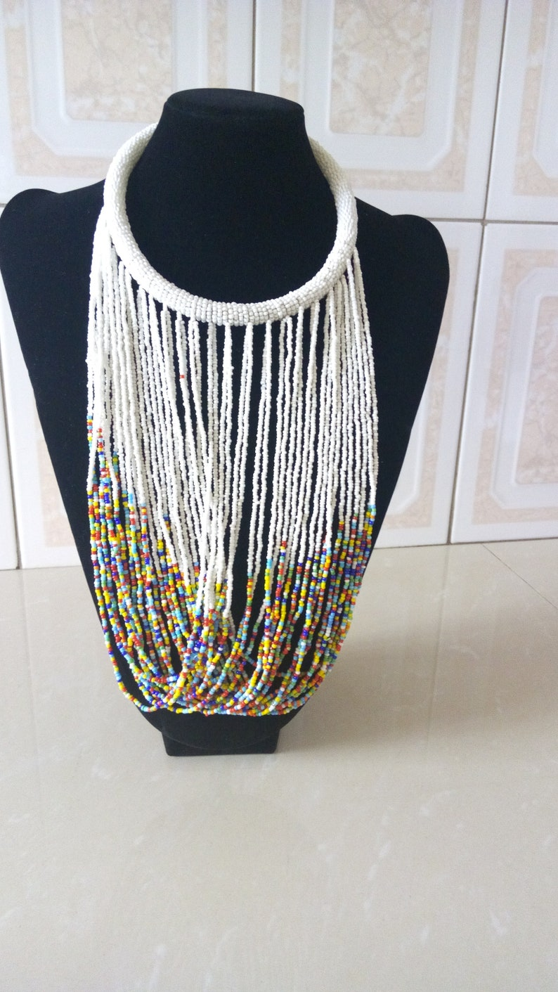 Tribal Jewelry Women Necklaces Mothers Gift African Beaded Jewelry ON SALE Multistrand Beaded Necklace White Beaded Necklace