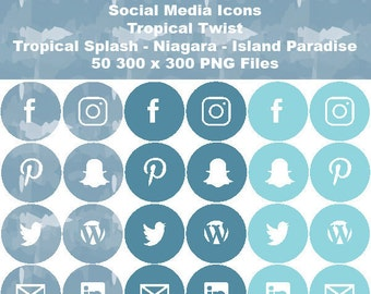 INSTANT DOWNLOAD - Social Media Icons - Tropical Twist Palette