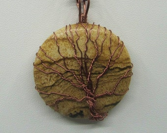 Copper wired tree of life on picture jasper gemstone pendant with matching earrings (#502TOL) FREE SHIPPING