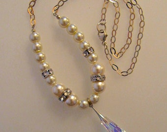 Swarovski crystal and pearls with  sterling silver chain (#319 BS) FREE SHIPPING