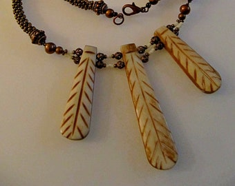 Carved Bone Beaded Kumihimo Necklace (#370 K) FREE SHIPPING