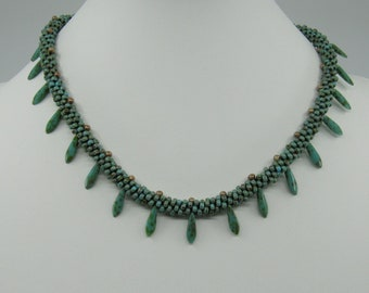 Kumihimo Braided Necklace with Dagger Beads (#455K) FREE SHIPPING