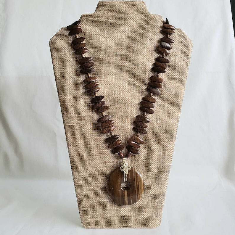 One of a Kind Dark Browns Wire Wrapped Unique Gift Idea for Mothers Day or her Birthday Wood and Stone Necklace Handmade Pendant